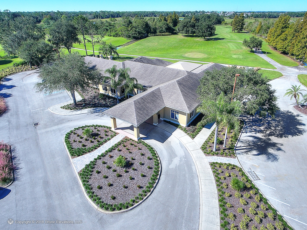 Aerial view of the clubhouse at Cypresswood