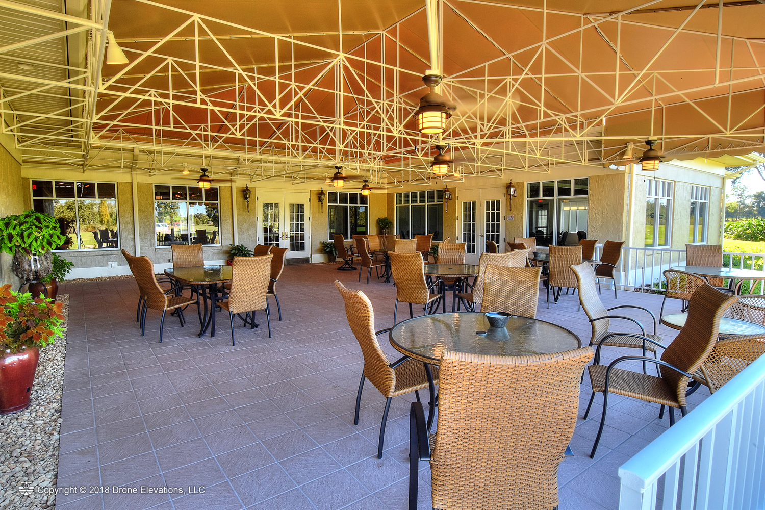 The outdoor patio at the Cypresswood clubhouse