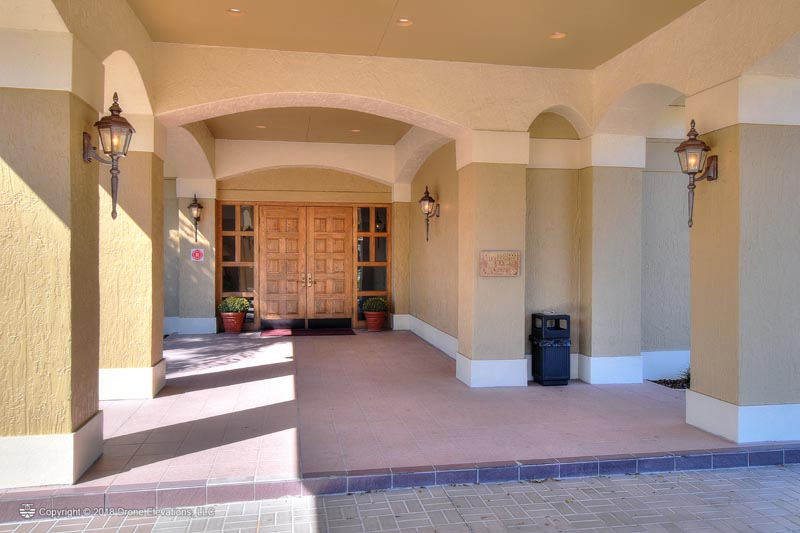 The entryway to the Cypresswood clubhouse.