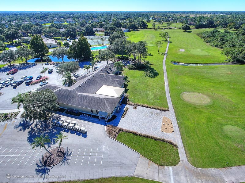 Aerial view of the clubhouse and fairway.