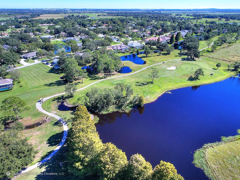 Aerial view of hole 4 on the Cypresswood course.